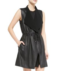 Vince Leather/Ponte Draped Long Vest - Lyst
