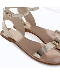 Zara Metallic Leather Sandal with Ankle Strap - Lyst