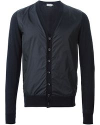 Moncler Blue Two-Tone Cardigan - Lyst