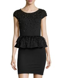 Alice + Olivia Luma Bead  Feather Peplum Dress - Lyst