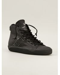 Leather Crown Studded Distressed Trainers - Lyst