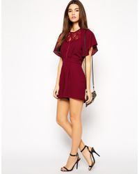 Asos Exclusive Playsuit with Lace Insert and Kimono Sleeve - Lyst
