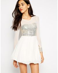 AX Paris Skater Dress With Sequin Bust And Sheer Sleeves - Lyst