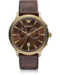 Emporio Armani Classic Gold-Tone Men'S Chronograph Watch - Lyst