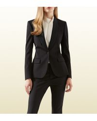 Gucci Black Silk Wool Stretch Drill Jacket - Lyst