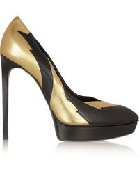 Saint Laurent Metallic and Matteleather Pumps - Lyst