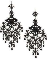 Jose & Maria Barrera | Gunmetal Filigree Crystal Chandelier Earrings | Lyst