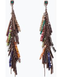 Zara Chains And Stones Earrings - Lyst