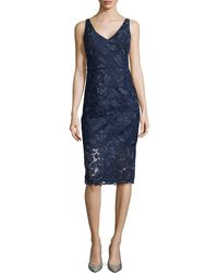 Ml Monique Lhuillier Lace Cocktail Dress with Back Ruffle - Lyst