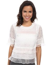 Rebecca Taylor Short Sleeve Tile Lace Ruffle Top - Lyst