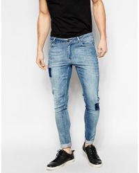 Asos Extreme Super Skinny Jeans With Patches - Lyst