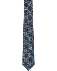 Turnbull & Asser Patterned Silk Tie Nvygrn - Lyst