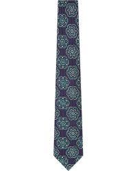 Turnbull & Asser Patterned Silk Tie Nvygrn - Lyst