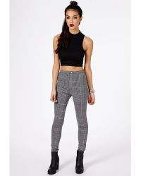 Missguided Weronika Dogtooth Check Skinny Trousers In Grey - Lyst