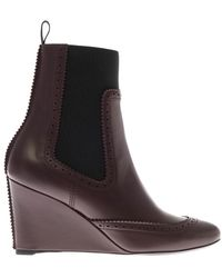 Balenciaga Brogues Chelsea Leather Wedge Boots - Lyst