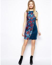 Asos Asymmetric Zip Print Bodyconscious Dress - Lyst