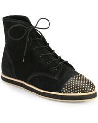 Loeffler Randall Octavia Studded Leather  Suede High-top Sneakers - Lyst