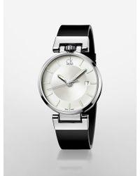 Calvin Klein Platinum Label Worldly Black Leather Strap Watch - Lyst