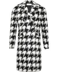 Saint Laurent Mens Furry Houndstooth Coat - Lyst