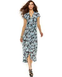 Michael Kors Michael Printed Wrap-Waist Maxi Dress - Lyst