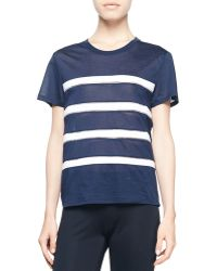 Balenciaga Short-Sleeve Stripe-Front Top - Lyst
