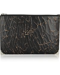 Alexander Wang Prisma Skeletal Cracked-leather Pouch - Lyst
