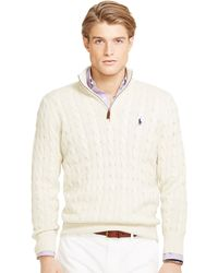 Polo Ralph Lauren Cable-Knit Silk Sweater - Lyst