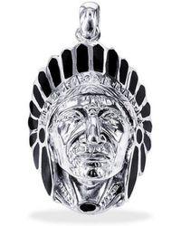 Aeravida - Native American Indian Chief Head Onyx .925 Silver Pendant - Lyst