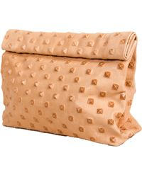 Marie Turnor Lunch Clutch In Honey Studded Leather - Lyst