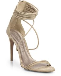 Burberry Mirabell Suede Sandals beige - Lyst