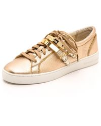 MICHAEL Michael Kors Kimberly Metallic Sneakers  Pale Gold - Lyst