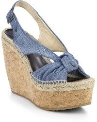 Jimmy Choo Parisa Knotted Denim Cork Wedge Sandals - Lyst
