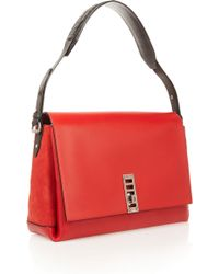 Proenza Schouler Elliot Leather And Suede Shoulder Bag - Lyst