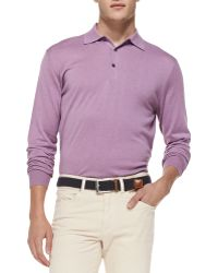 Peter Millar Silk-blend Polo Sweater - Lyst