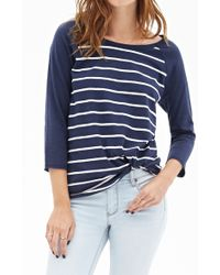 Forever 21 Striped Knit Raglan Tee - Lyst