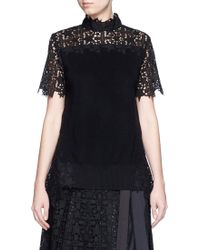 Sacai | Star Lace Knit Panel Top | Lyst
