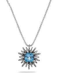 David Yurman Pendant Necklace With Blue Topaz - Lyst