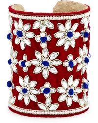 Chamak By Priya Kakkar   Velvet Floral Crystal Cuff Bracelet   Lyst