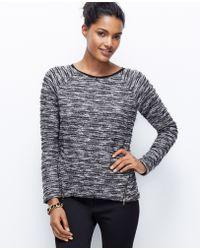Ann Taylor Petite Tweed Zip Sweatshirt - Lyst
