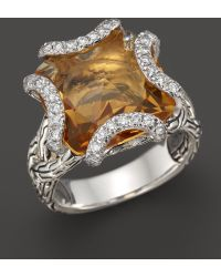 John Hardy Batu Classic Chain Sterling Silver Medium Braided Ring with Citrine and Diamonds - Lyst