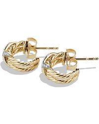 David Yurman X Crossover Hoop Earrings With Diamonds In 18K Gold - Lyst