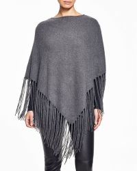 Moon & Meadow - Cashmere Fringe Poncho - Lyst