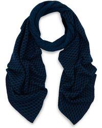 John Smedley - Blue Ellipse Geometric Merino Wool Scarf - Lyst