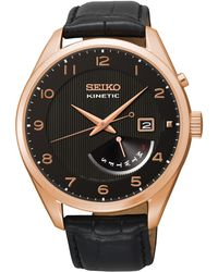 Seiko - Srn054p1 Men's Core Leather Strap Kinetic Watch - Lyst
