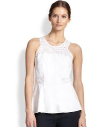Rebecca Taylor Perforated Paneled Peplum Top - Lyst