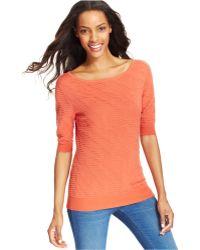 Calvin Klein Jeans Three-quarter-sleeve Boat-neck Top - Lyst