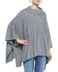 Eileen Fisher Lofty Funnel-neck Poncho Top - Lyst
