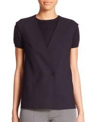 Max Mara Aquile Stretch Wool Vest black - Lyst