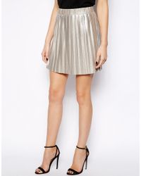 Mango Metallic Pleated Mini Skirt - Lyst