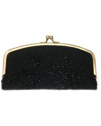 Nicole Miller Black Beaded Fold Over Clutch - Lyst